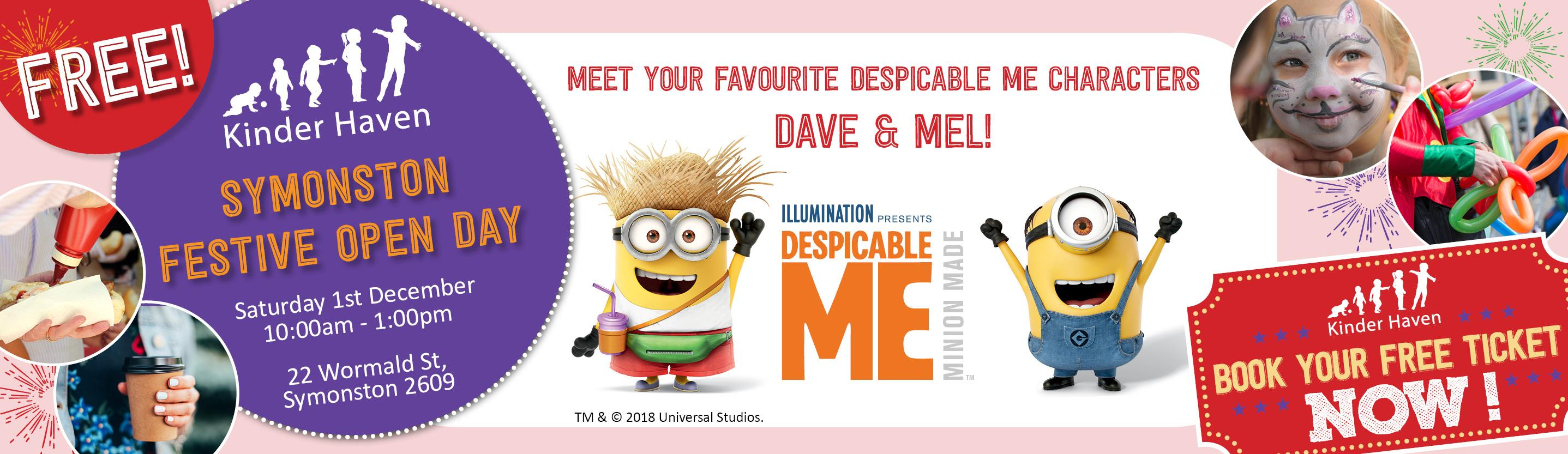 Meet Despicable Me characters Dave & Mel at Kinder Haven Symonston's festive Open Day!